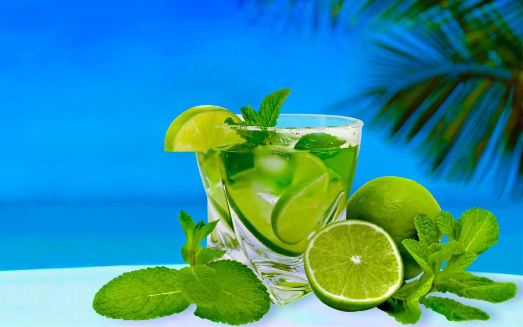 Cocktail lime mint glass alcohol 3840x2400