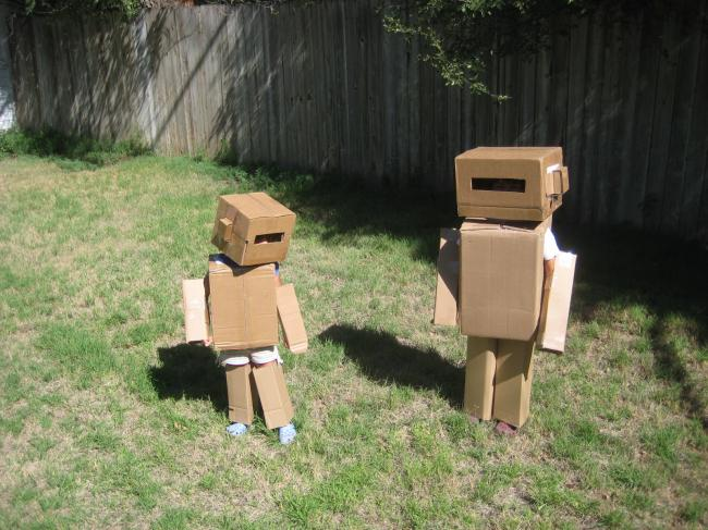 Little Cardboard Robot Costumes