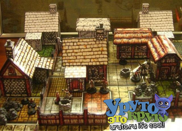Medieval Village for Diorama RPG and Wargame Building Paper Model